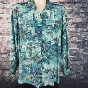Vintage Rayon Long Sleeve Tropical Blouse
